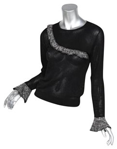 Anne Fontaine Black Perforated Cotton Tweed Ruffle Long Sleeve Top