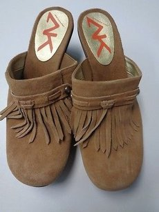Anne Klein Sport Fringe Clog Heels Synthetic B3249 Tan And Brown Flats
