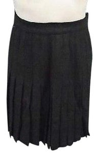 Anne Klein Solid Wool Casual Knee Length Pleated 5927a Skirt Black