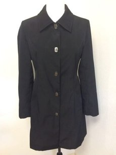 Anne Klein Trench Petite Lined Poly Latch Toggle Buttons Trench Coat