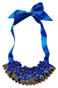 Anthropologie Anthropologie Blue Roses Bib Necklace - By Forest Of Chintz