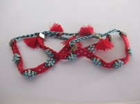 Anthropologie Anthropologie Red Braided Turq Tassel Friendship Bracelet Set Of Ea