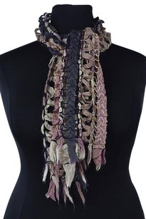 Anthropologie Sleeping On Snow Womens Pink Scarf One Wool Sequined Fringe Casual