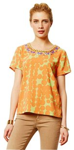 Anthropologie Bejeweled Collar Swingy Top Orange