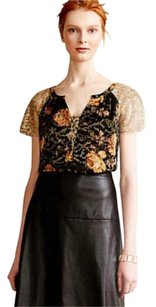 Anthropologie Bling Sparkles Top Black Motif
