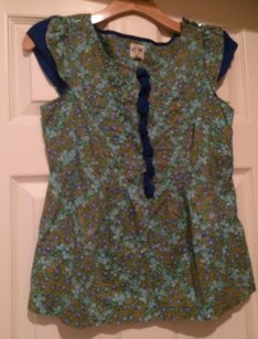 Anthropologie Edme Esyllte Floral Top Blue and Green