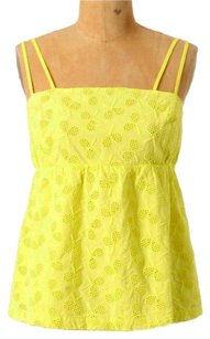 Anthropologie Embroidered Rackets Double Top Yellow