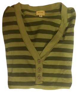 Anthropologie Striped T Shirt Green