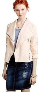 Anthropologie Ivory Soft Zip Front Side Stretchy Motorcycle Jacket