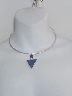 Anthropologie Lot Of Anthropologie Antique Silver Blue Stone Spike Choker Necklace