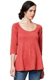 Anthropologie Seam Detaling Fit And Flare Top Orange