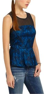 Anthropologie Sheer Mesh Yoke Lace Overlay Top NWT Blue