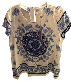 Anthropologie Top Blue Ivory