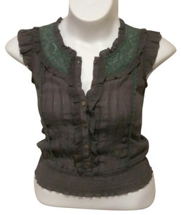 Anthropologie Top Gray & Green