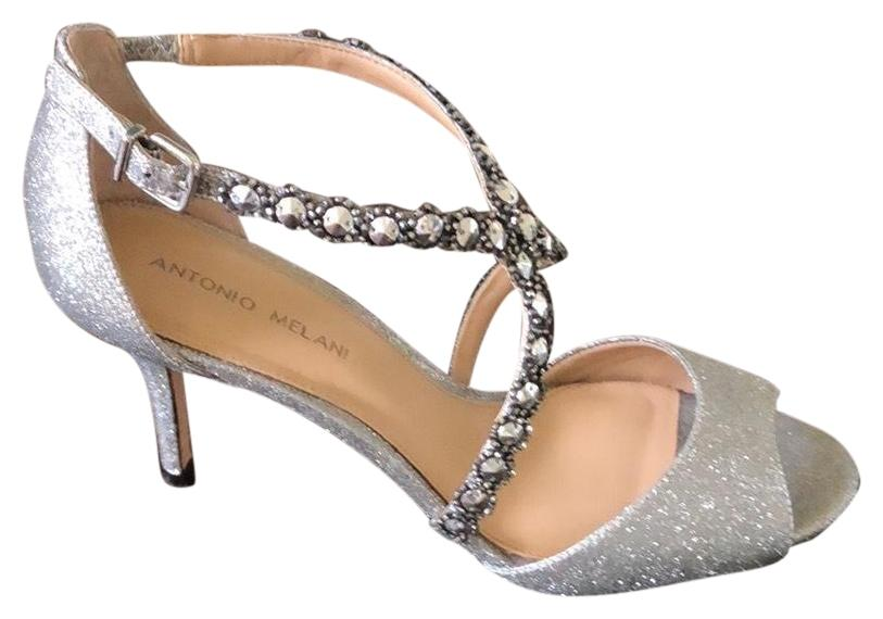342108b58c69 Antonio Antonio Antonio Melani Silver Jamme Rhinestone Dress Sandal Formal  Shoes Size US 10 Regular (M