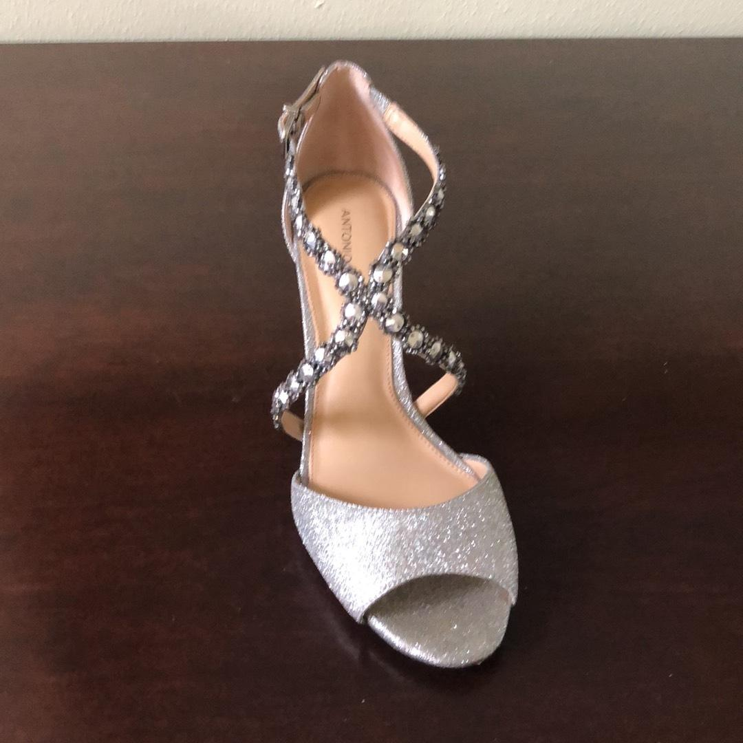 7bdbe69b288d ... Antonio Antonio Antonio Melani Silver Jamme Rhinestone Dress Sandal  Formal Shoes Size US 10 Regular ...