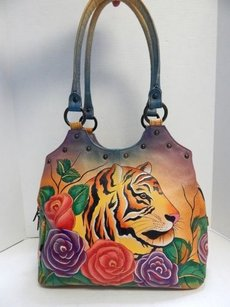 Anuschka Handpainted Tiger Shoulder Bag