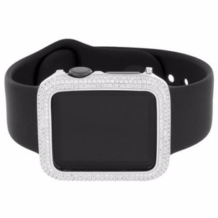 Apple Mens Apple Watches Black Sport Band Simulated Diamond Silver Tone 38mm Ios Touch