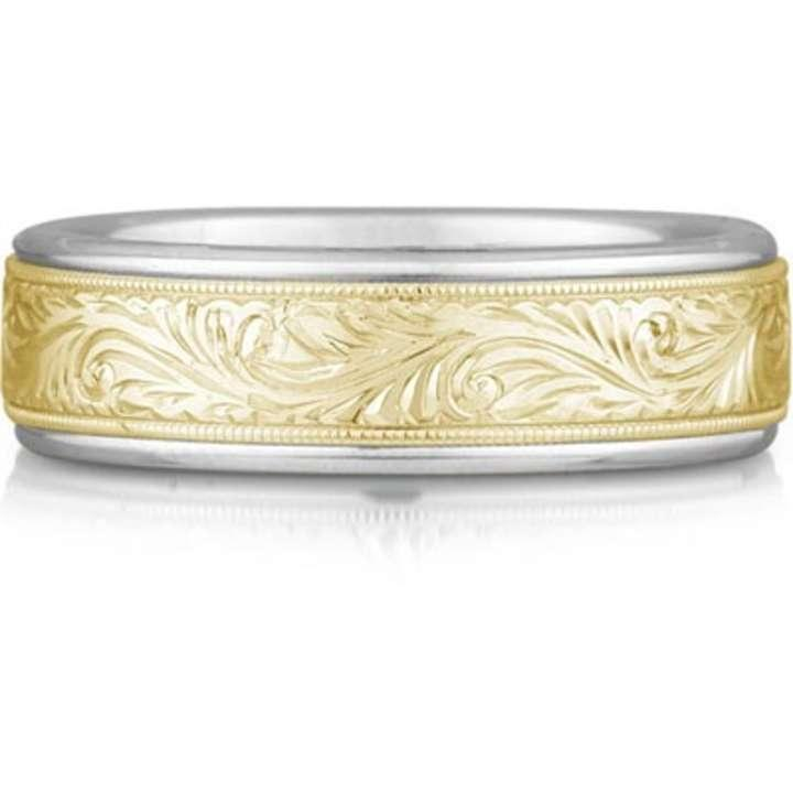 Apples Of Gold Engraved Paisley Ring 14k Two Tone Women S