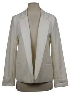 Aqua Aqua Womens Ivory Blazer Wtw Career Jacket Long Sleeve Collared Open Front