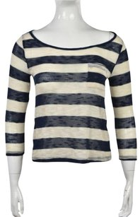 Aqua Womens Striped Crewneck Loose Knit 34 Sleeve Sweater