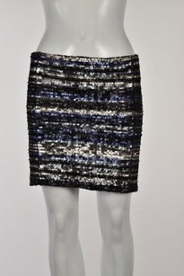 Aqua Womens Sequined Straight Above Knee Metallic Party Skirt Black