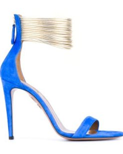 Aquazzura Hello Lover Suede Gold Blue Sandals