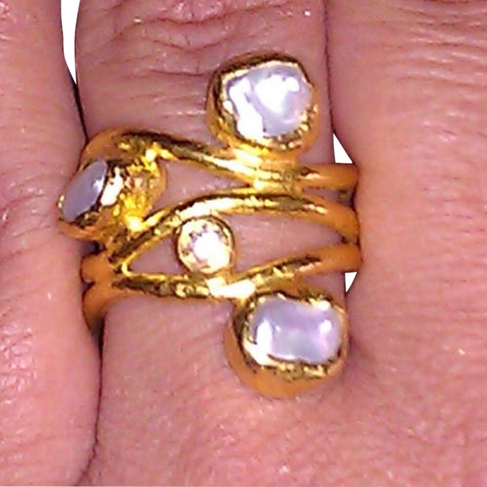 Ara 24k Gold Designer Collection Solid Wave Nugget Pearls White