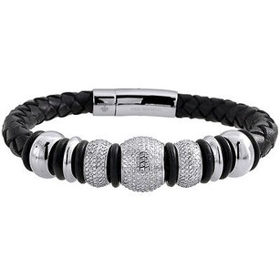 Arctica Diamond Beaded Ball Bracelet Arctica Mens Leather Strand Stainless Steel 3.75 Ct