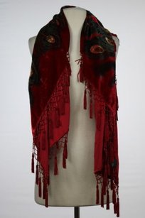 Aris Allen Aris A Womens Red Scarf Os One Silk Peacock Casual