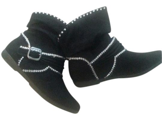 Arizona Black Suede Crystal Cute Slouch Boots/Booties Size US 8 Regular (M, B)