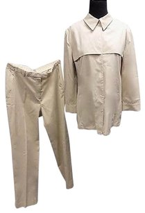 Armani Collezioni Armani Collezioni Beige Cotton Two Piece Pant Suit Sizetop12 Pants8 Sma9584