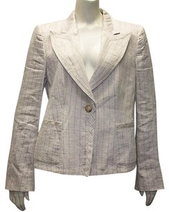 Armani Collezioni Armani Collezioni Tan Linen Blend Stripe Button Up Blazer Jacket Hs2818
