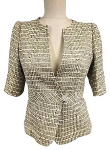 Armani Collezioni Armani Collezioni Brown Metallic Single Button 34 Sleeve Blazer 3129a