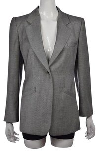 Armani Collezioni Armani Collezioni Womens Black Blazer Textured Wool Wtw Jacket