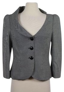 Armani Collezioni Armani Collezioni Womens Black White Checkered Blazer Long Sleeve