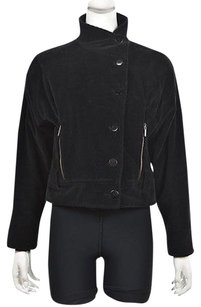 Armani Collezioni Womens Textured Basic Cotton Long Sleeve Black Jacket