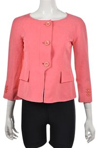 Armani Collezioni Womens Coral Basic Textured 34 Sleeve Coat Pink Jacket