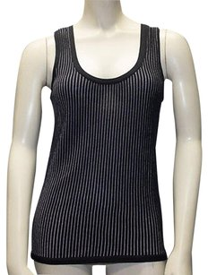 Armani Collezioni Navy White Striped Knit Sleeveless Hs2530 Top Multi-Color