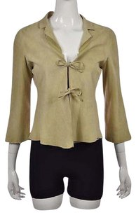 Armani Collezioni Womens Leather 34 Sleeve Casual Coat Beige Jacket