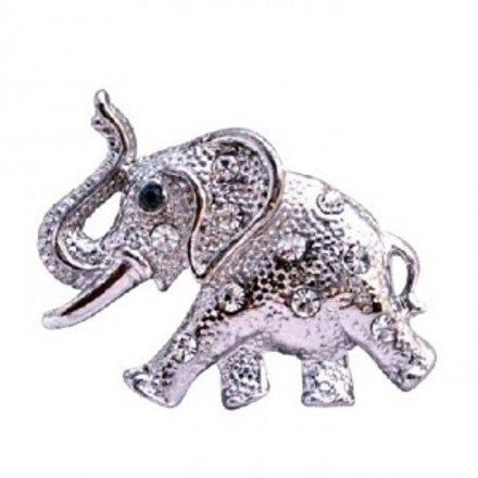 Artistically Silver Casting Elephant Trunk Brooch Pin Vintage Jewelry