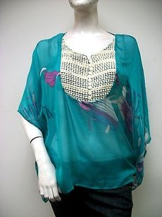 Aryn K Jade Sheer Top Green