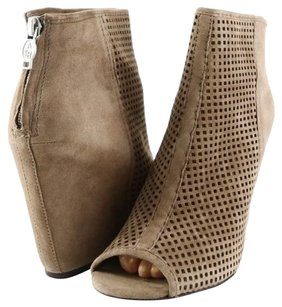 Ash June Suede Womens Designer Caged Wedge Open Toe Heels Eur 35 Taupe Boots