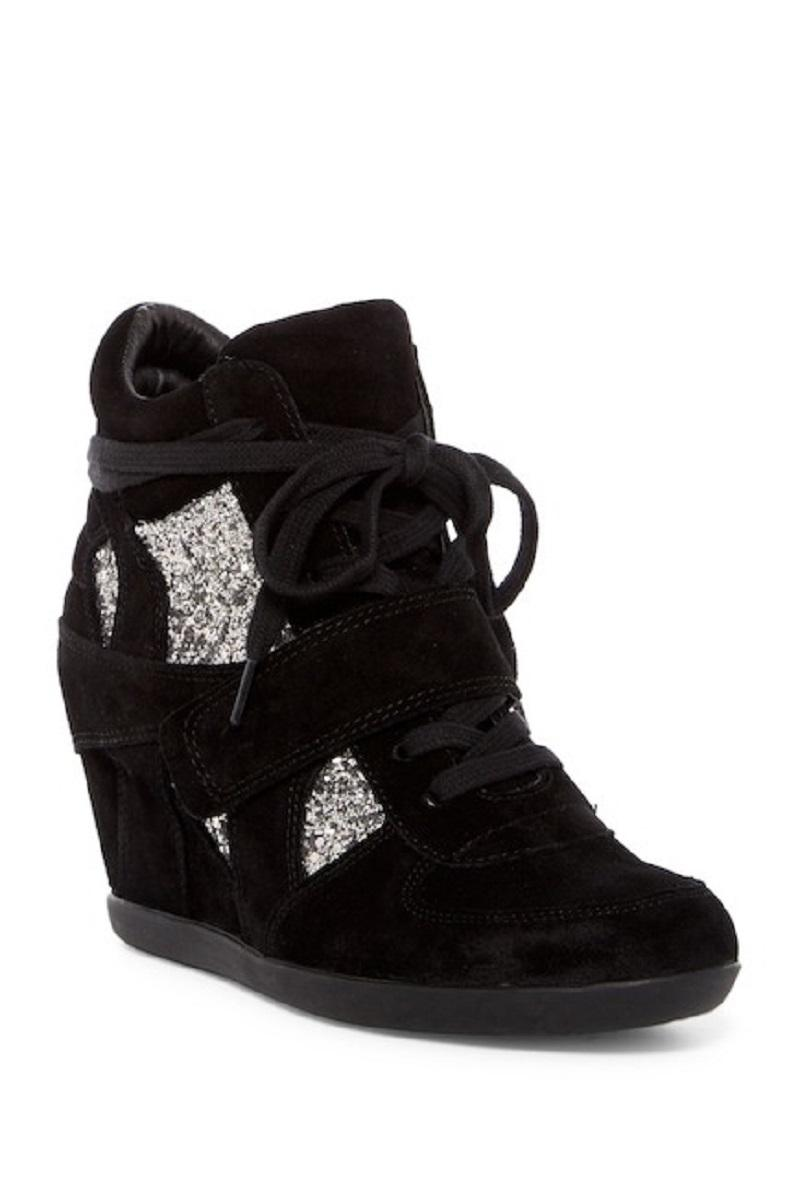 Ash Black Bowie Glitter Suede Leather High Top Sneakers Size EU 37 (Approx. US 7) Regular (M, B)