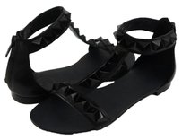 Ash Mosaic Leather Spiked Womens Designer Flat T Strap Black Sandals