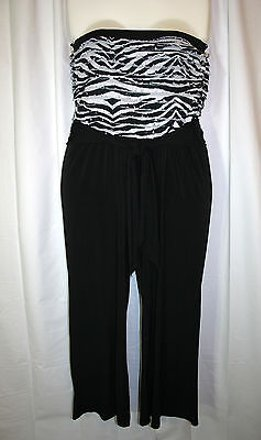 72062f46e9d1 durable modeling Ashley Stewart 1x Black White Ruffle Top Strapless One  Piece Jumpsuit