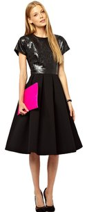 ASOS Crepe Leather A-line Pleated Party Dress