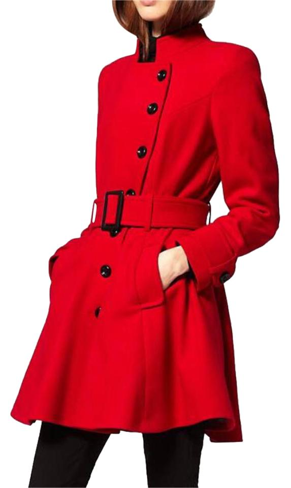 ASOS red skater pea coat