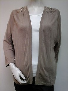 August Silk Crochet Back Taupe Baja Dune Linen 34 Sleeve Cardigan Sweater