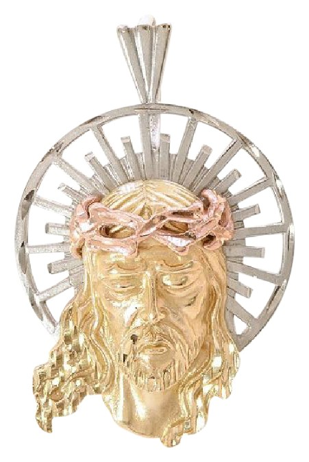 Avital Co Jewelry 14k Tri Color Gold Jesus Head Pendant with Rose